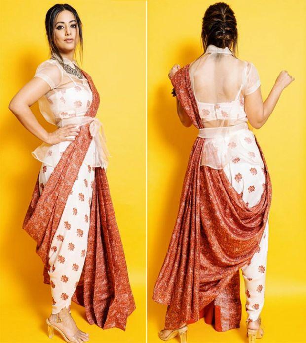 Hina Khan Looks Beautiful In A Fashionable Saree