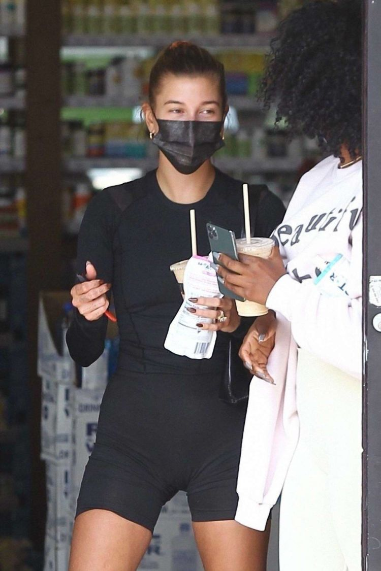 Hailey Bieber Candids In Black Out In Los Angeles