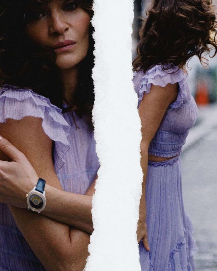Helena Christensen Posing In A Purple Dress Out On The Street