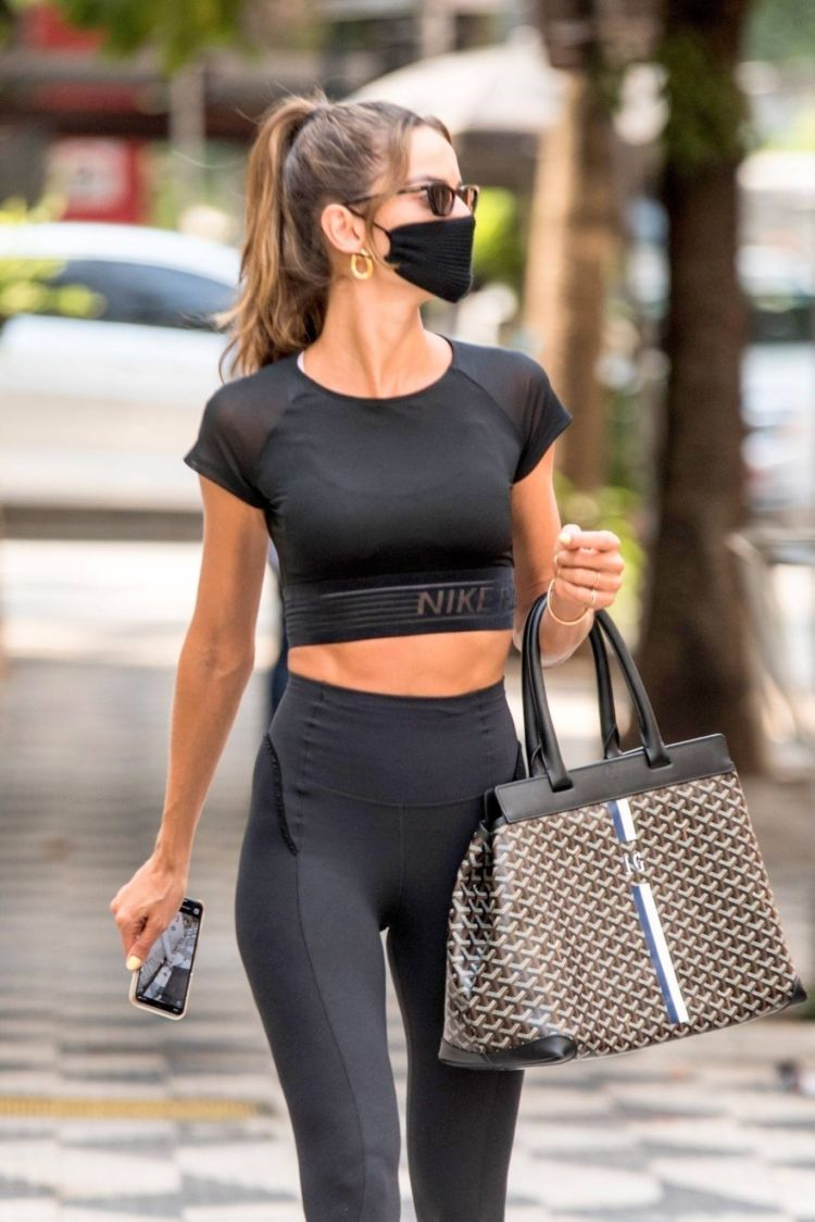 Izabel Goulart Spotted Out In Black Sporty Outfit In Sao Paulo