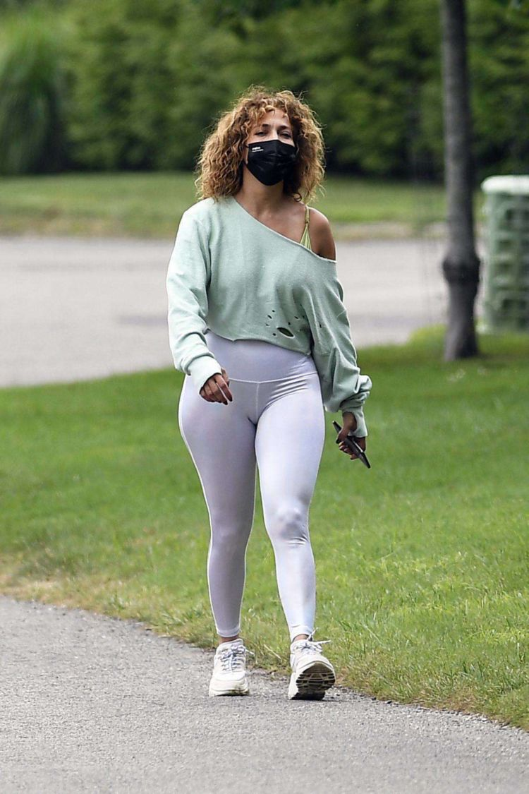 Jennifer Lopez Candids In Tight Leggings Out In Water Mill In NYC