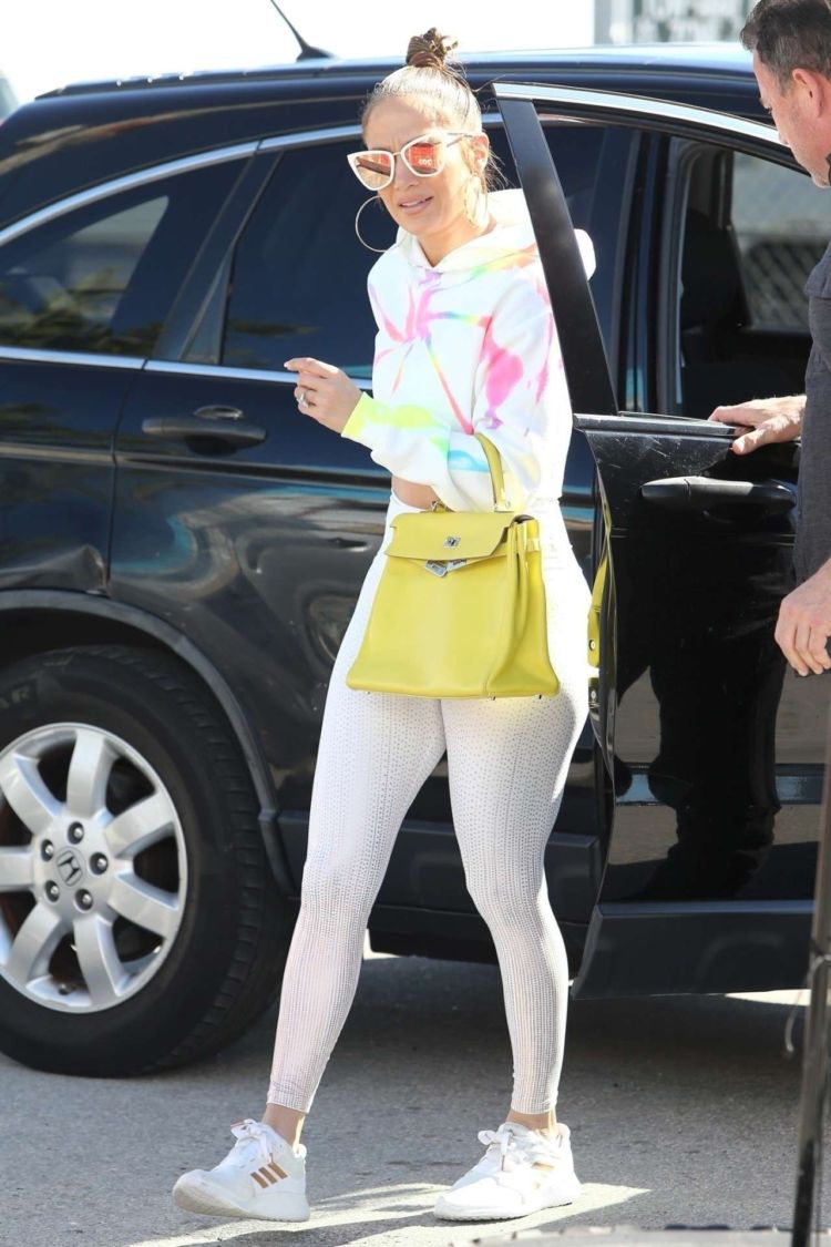 Jennifer Lopez Spotted In White Leggings Out In Miami