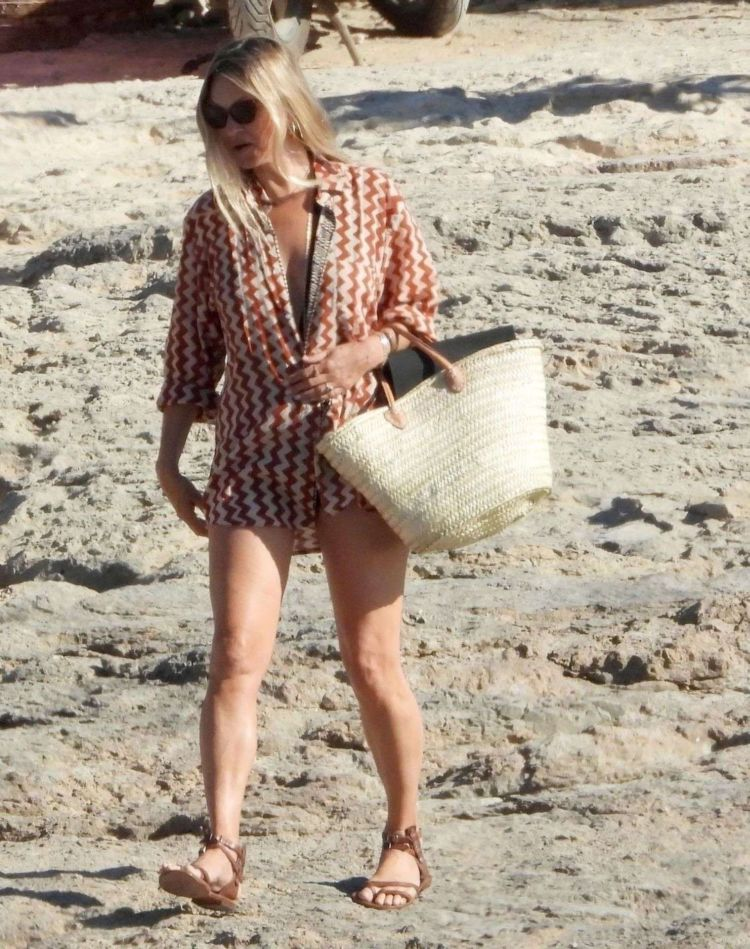 Kate Moss Spotted On The Beach During Her Holiday In Formentera