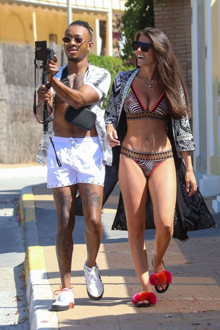 Rebecca Gormley And Biggs Chris Holidaying At The Beach In Marbella