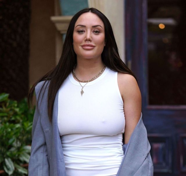 Charlotte Crosby In White At The Palm Restaurant In Sunderland