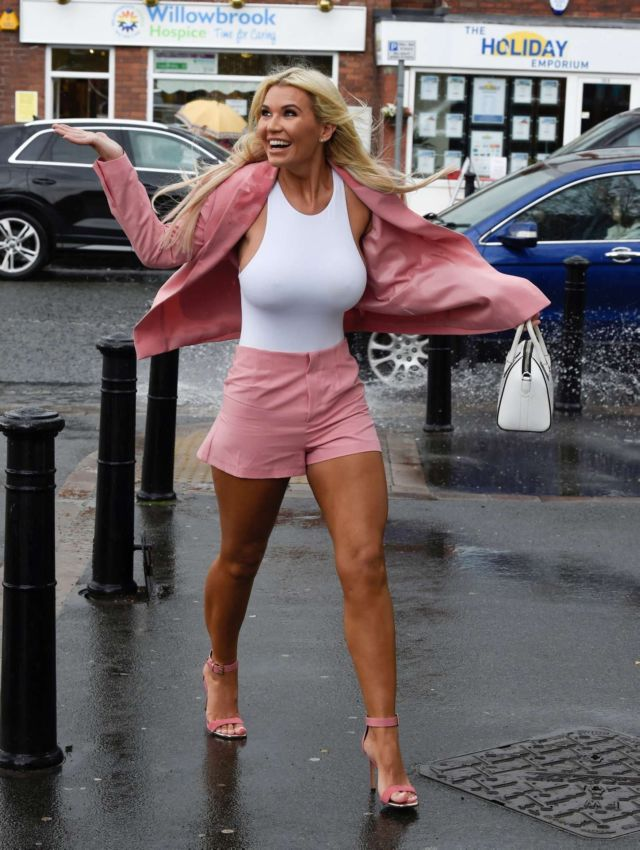 Christine McGuinness Out On A Rainy Day In Liverpool
