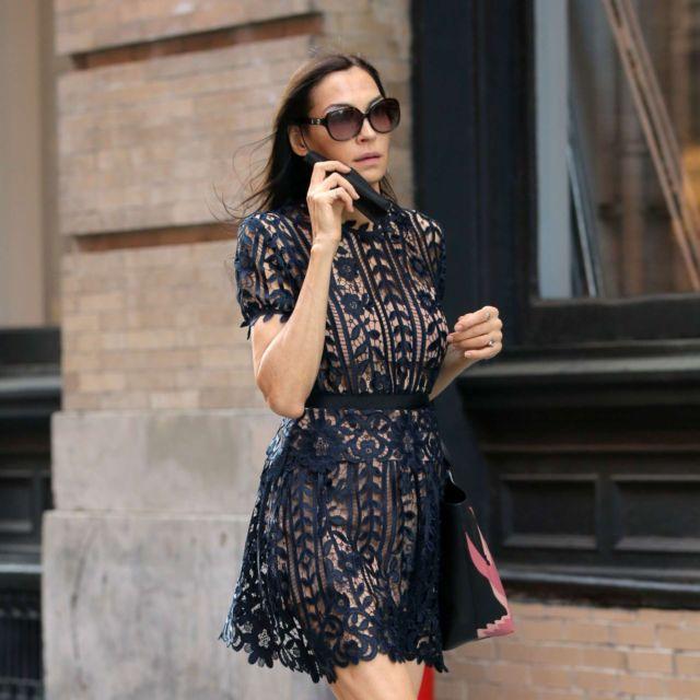 Famke Janssen In A Black Dress Out In New York City