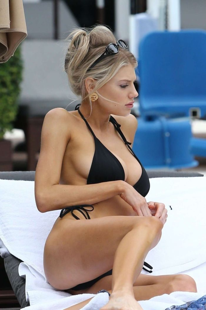 Charlotte McKinney In Black Bikini At A Swimming Pool In Miami